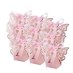 Cajas en forma de mariposa rosa