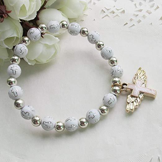 brazalete con angel recuerdo de bautizo
