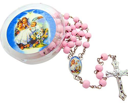 rosarios rosados recuerdos de bautismo