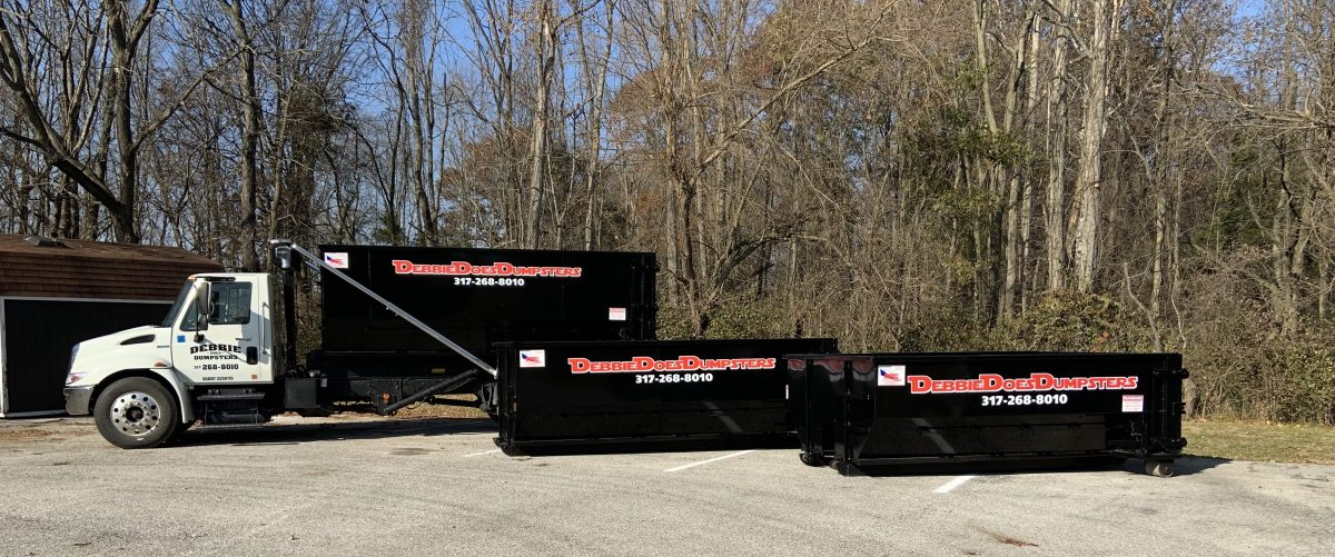 Picture of Truck and Picture of 3 Roll Off Dumpsters rental Indianapolis
