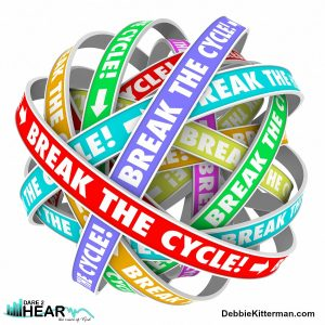Break the Cycle words on rings in an endless patter to illustrate ending or stoping a repetitive process or route