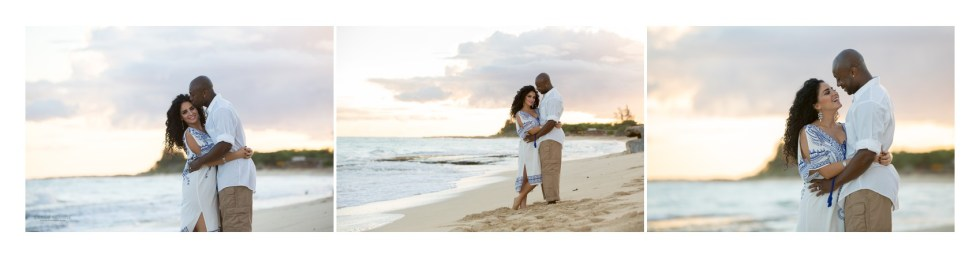 husband and wife on the beach in Hawaii