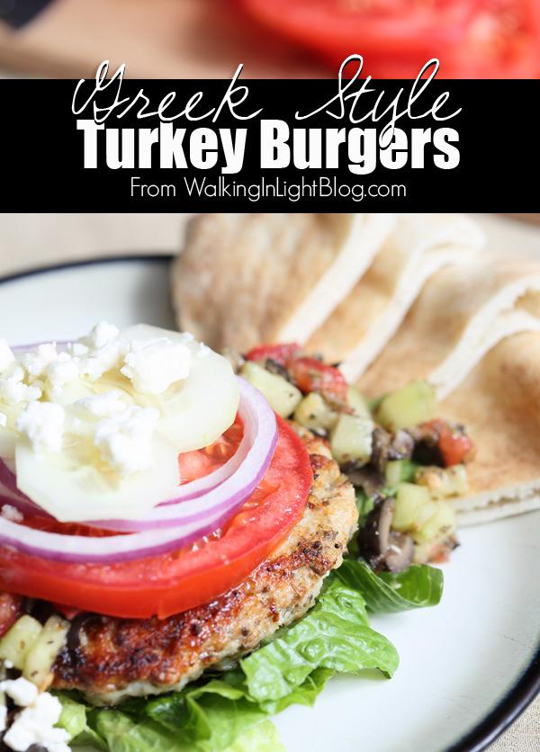 Greek Turkey Burger Recipe from WalkingInLightBlog.com