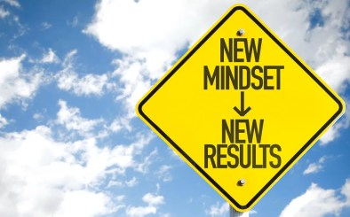 New Mindset - New Results sign with sky background