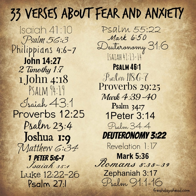 33 Verses about fear and anxiety