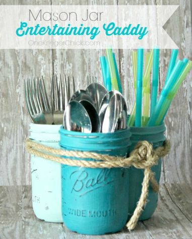 Mason jar silverware caddy