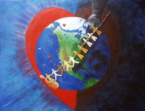 the world divided mixed media painting