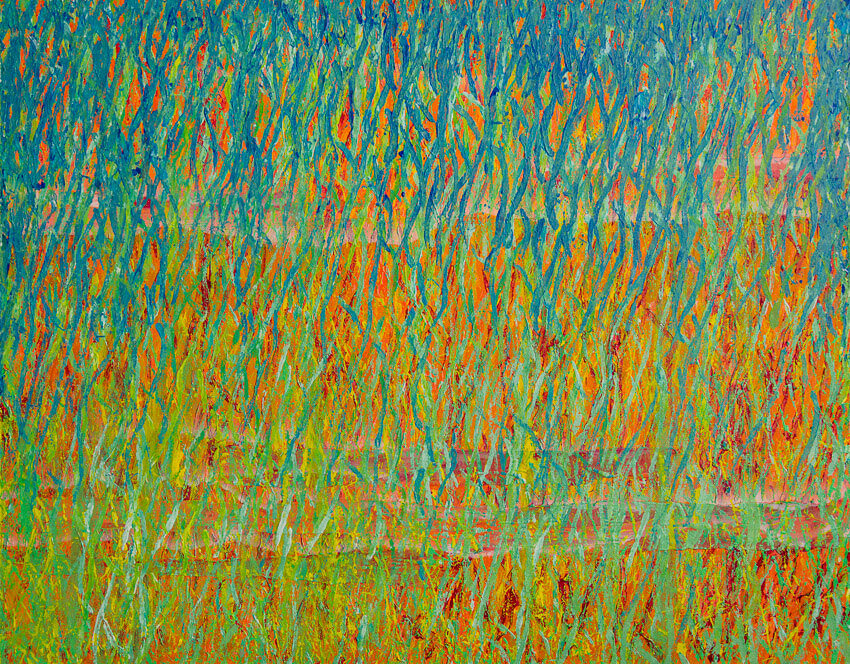 Spring Equinox - Abstract Painting by Deb Breton. Measures 22 x 28 x .75 on stretched canvas. Wall art bursting with spring colors of blue, green, orange and yellow.