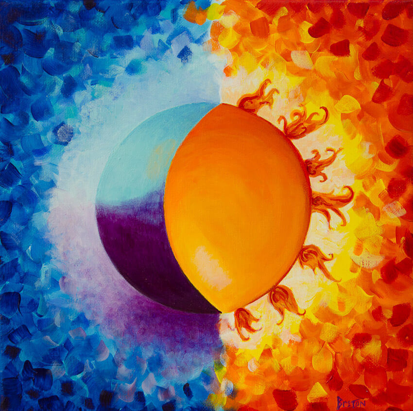 sun and moon yoga painting