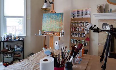 Spring Equinox abstract painting on the studio easel