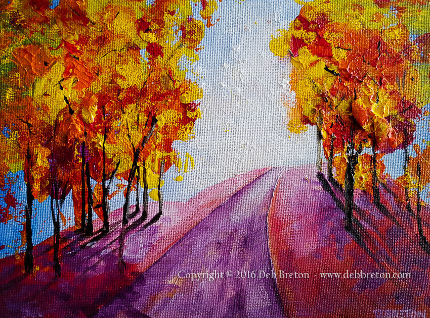 Bright cheery colors of Autumn with leaves changing color with the season. Textured painting. Measures 6 x 8 on canvas panel.