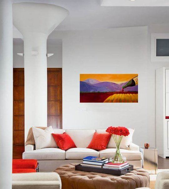 Beautiful painting in a living room setting