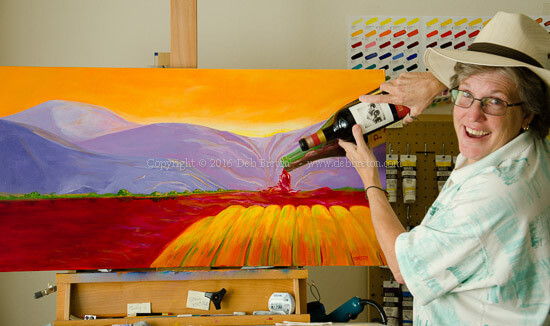 playful fun in the art studio with a bottle of wine and my wine painting