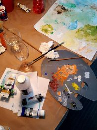 painting palette in the art studio