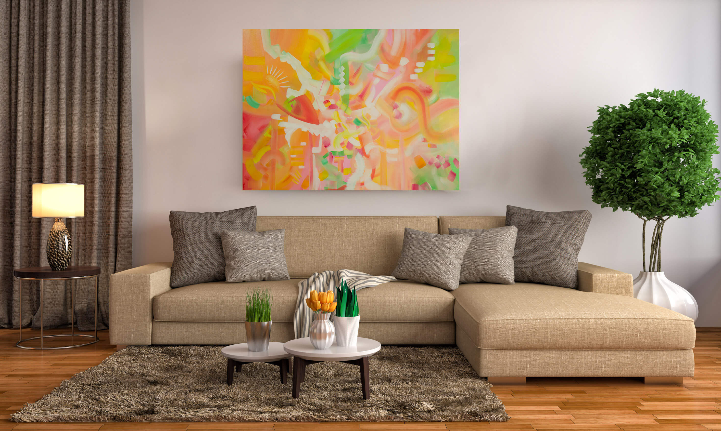 Large Abstract painting - Nothing's Gonna Change My World by Deb Breton