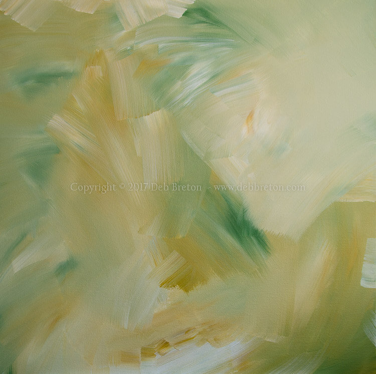 soft summer days green abstract painting