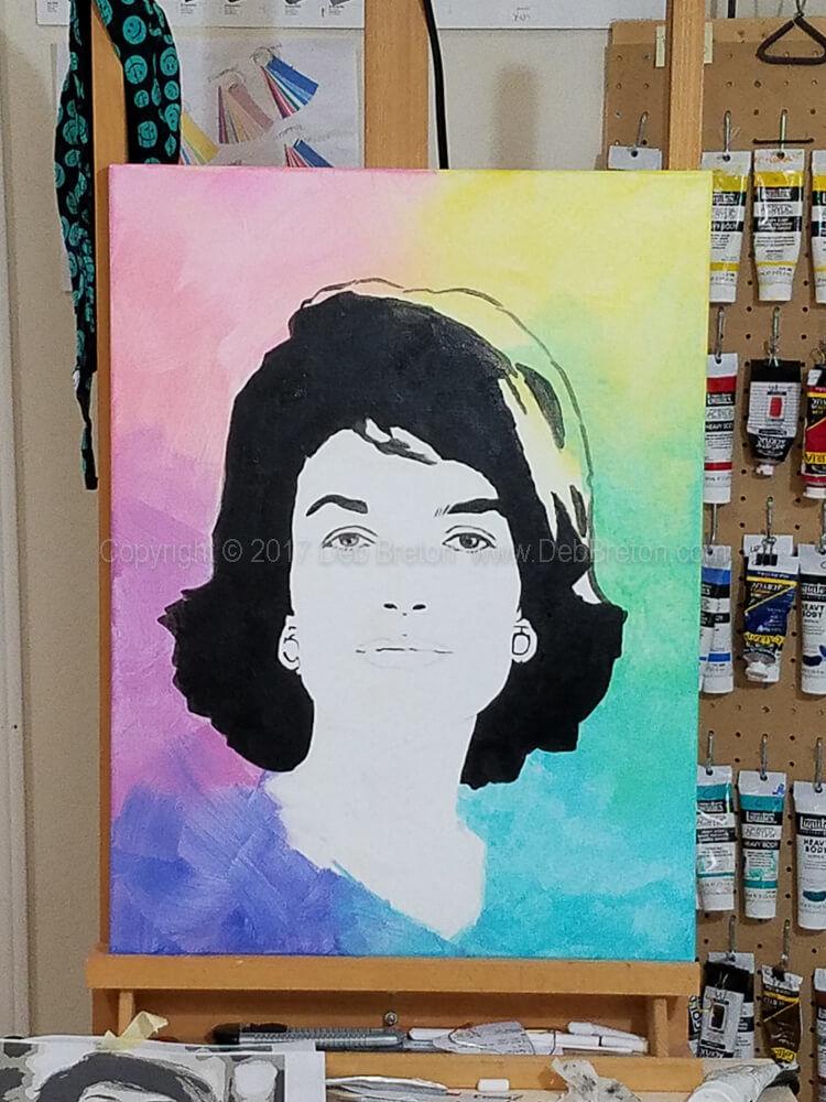 Jackie Kennedy painting in progress