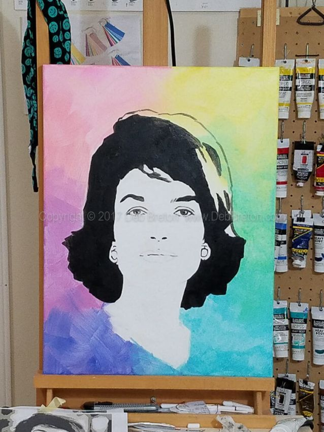 jackie Kennedy painting in progress