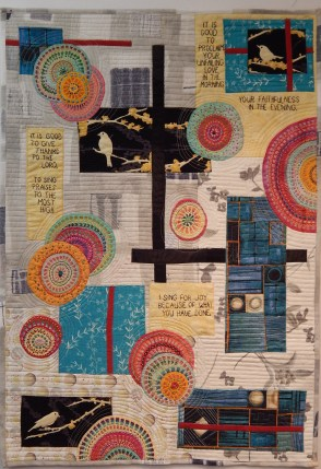 """Sing for Joy, 23 1/2X33 1/2"""", Machine pieced, appliqued, and quilted. Extensive hand embroidery. SOLD"""