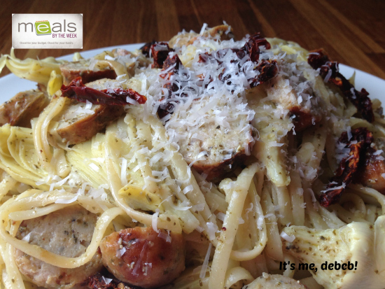 Pesto Linguine with Sausage and Artichokes-It's me, debcb!