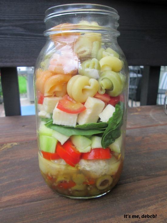 Mason Jar Pasta Salad Close-up