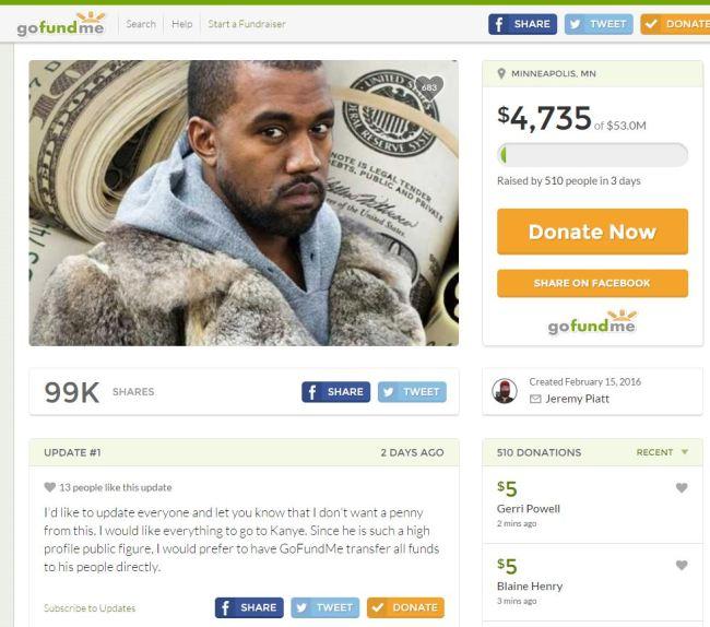 Kanye West GoFundMe page