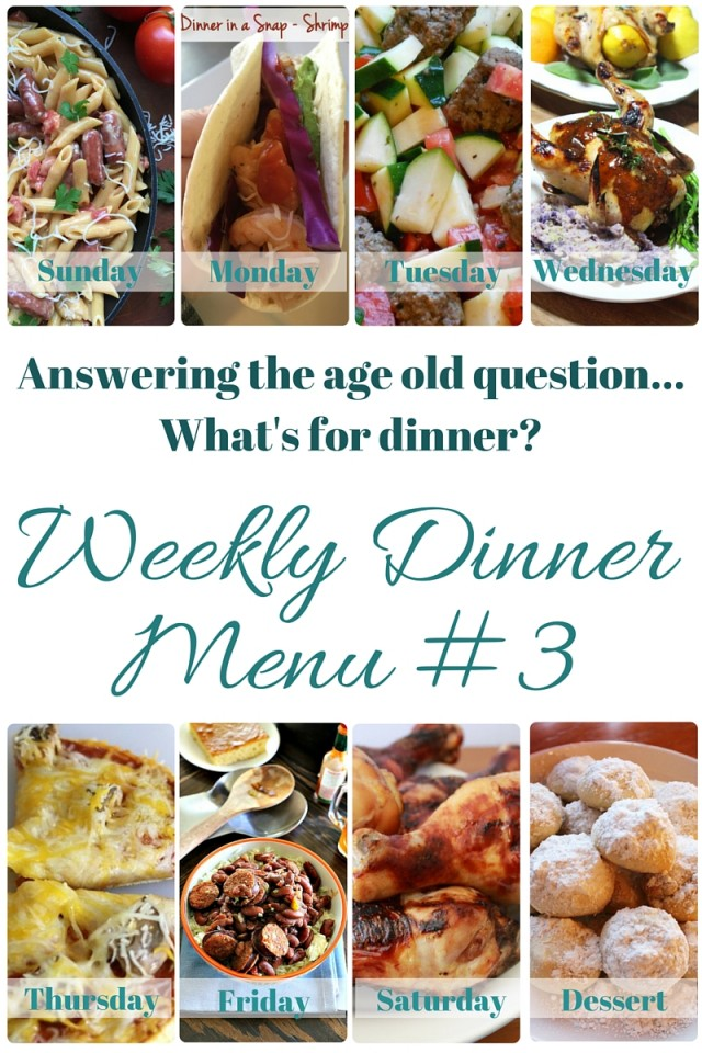 What's for dinner (Menu #3)