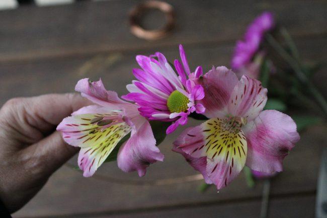 Flowers on floral crown