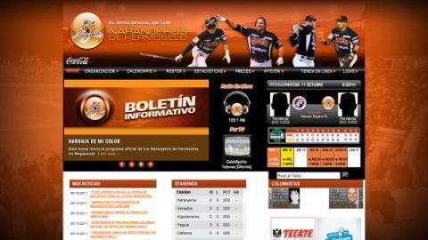 Sitio web de Naranjeros de Hermosillo