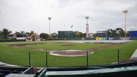Estadio Resurgimiento de Ciudad del Carmen afectado por la lluvia