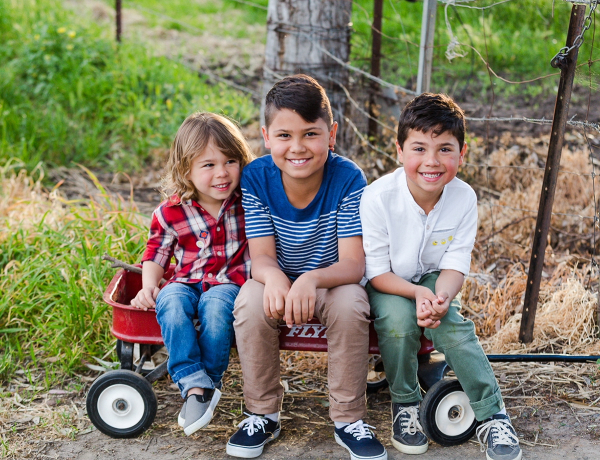 boys sitting on a little red wagon smiling cuddling brother love each other at their family photo session by deb elton photography