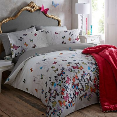 Butterfly Comforter Set Gray