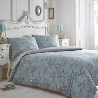 Home Collection Blue and grey 'Curious Bird' bedding set ...