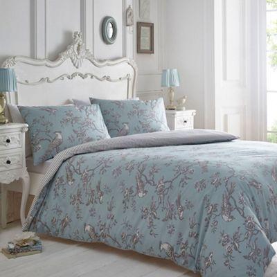 Debenhams Blue And Grey Printed 'curious Bird' Bedding Set