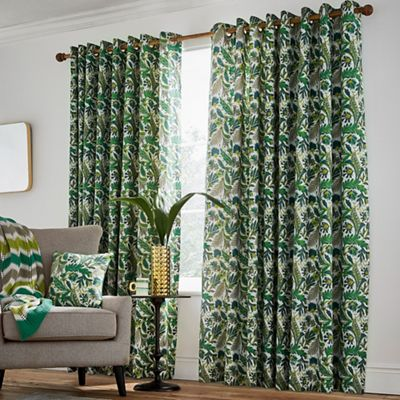 green curtains for living room modern interior pictures sale debenhams helena springfield bright cotton half panama jacaranda lined