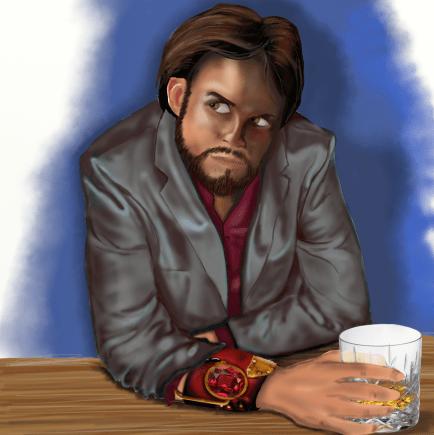 Braph sitting as a bar enjoying a whisky