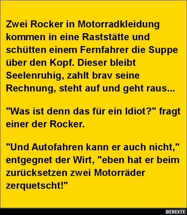 Zwei Rocker in Motorradkleidung kommen  Lustige Bilder