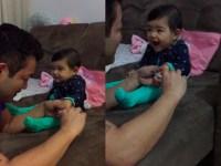 Divertido video para derretir corazones que capta a una niña riendo adorablemente cada vez que su padre trata de cortarle las uñas