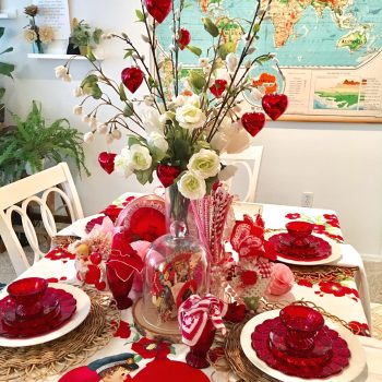 DIY Valentine's Table Decor Using Vintage Finds from Goodwill and Garage Sales.