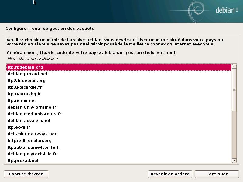 Choix d'un miroir Debian