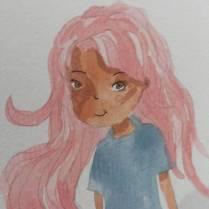 Menininha fofa de cabelo rosa