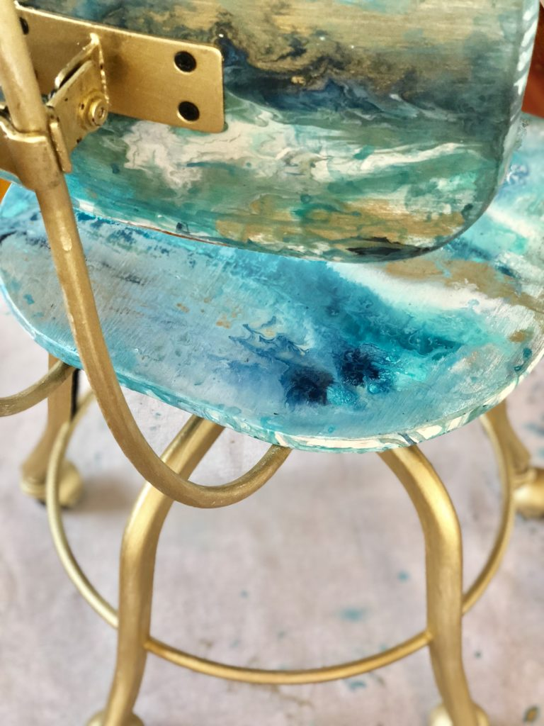How to do a GeodePaintPour on a Chair Inspired by