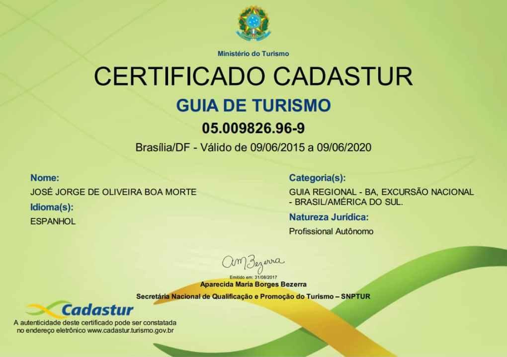 José Jorge de Olivera Boa Morte é Guia de Turismo habilitado pelo Ministério do Turismo, sob o número de inscrição: 05.009826.96-9.