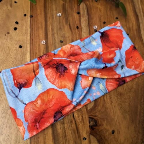 Headband/bandeau en jersey de coton aux motifs de coquelicots, couleurs rouge et bleu
