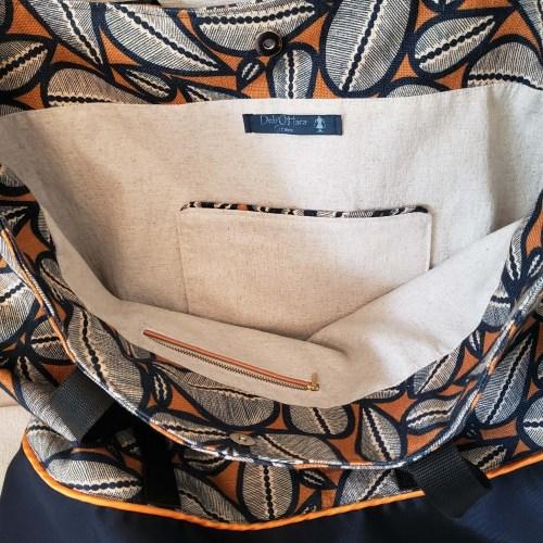 Sac en tissu cabas grand format, couleurs bleu et orange, tissu coton et lin, doublé et poches intérieures