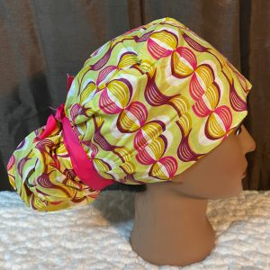 Pink and green ankara scrub cap