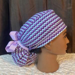 purple chevron ponytail scrub hat