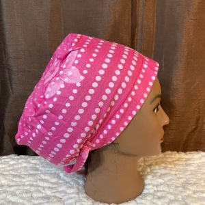 pink and white scrub hat