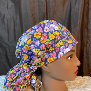 colorful flowers ponytail scrub cap