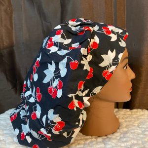 cherry bouffant scrub hat